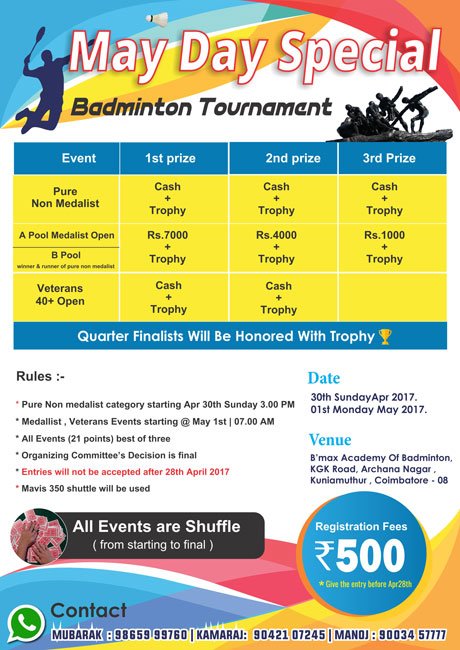 May Day Special - Badminton Tournament